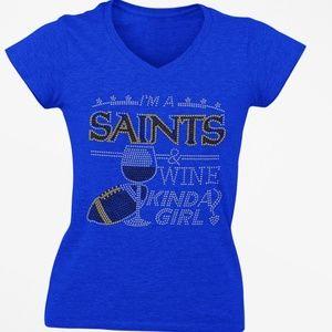 SAINTS AND WINE BLING RHINESTONE V neck TEE